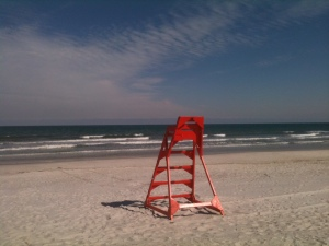 Lonesome guard tower on south Jax Beach